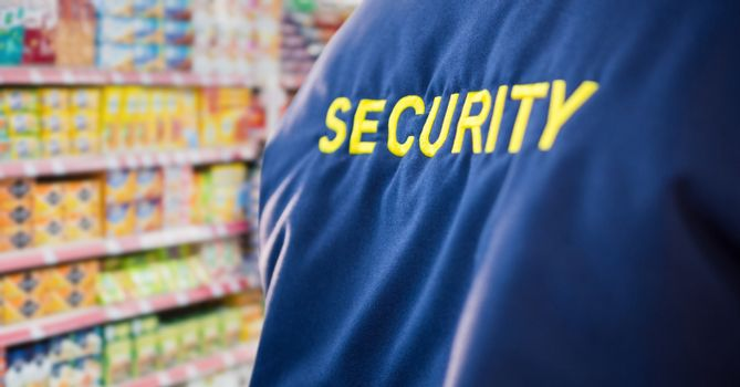 security guard in the supermarket