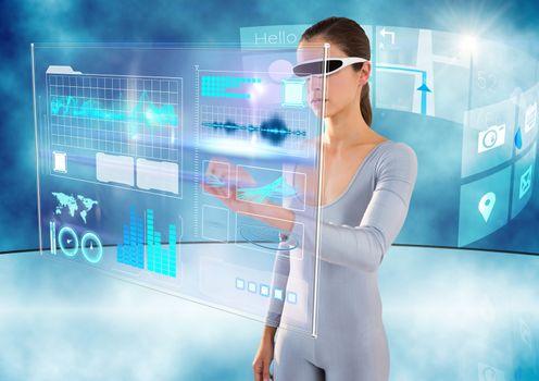 futuristic room interface with futuristic woman