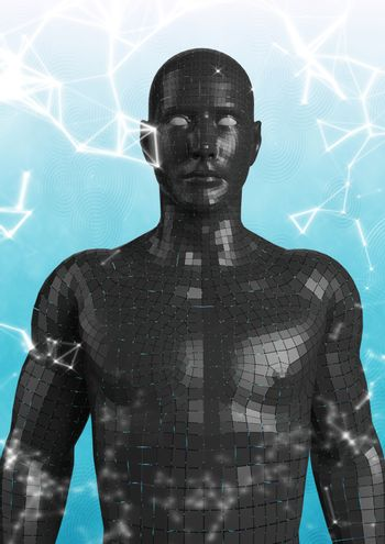 White network against black male AI and blue and white background