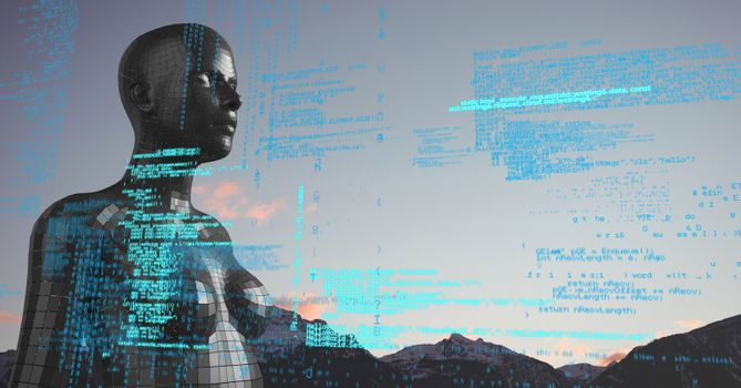 Blue code against black female AI and mountain tops and sky