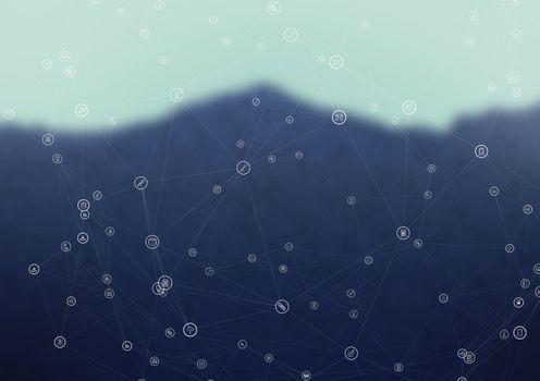 White network against blurry mountain