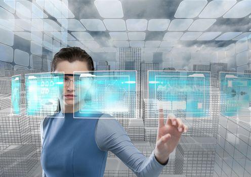 futuristic room interface, futuristic woman