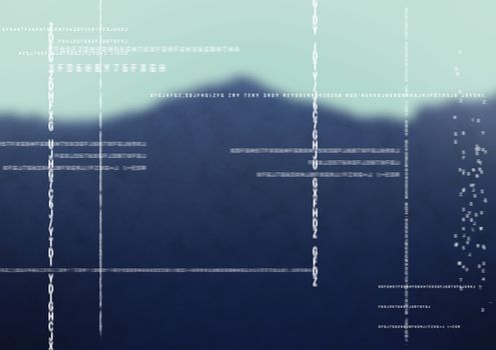 White code against blurry mountain
