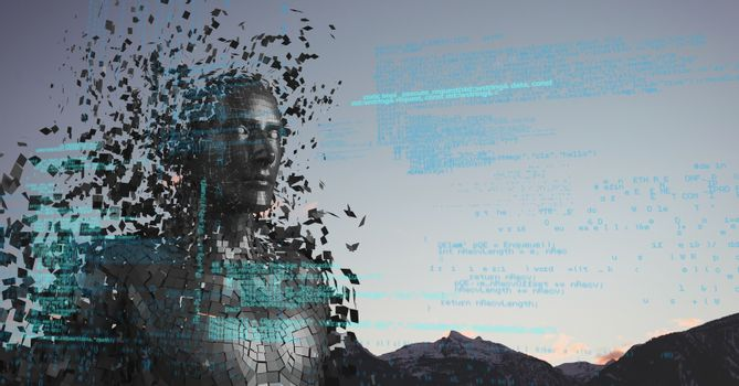 Blue code against black male AI and mountain tops and sky