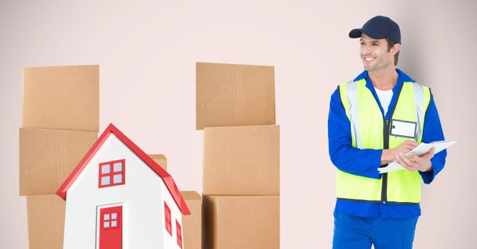 Delivery man standing by 2d house and parcels