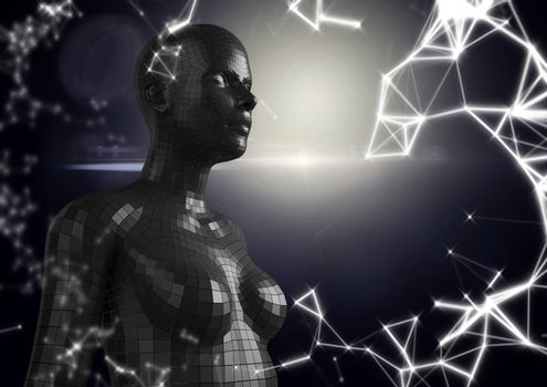 White network and black female AI against dark background and flare