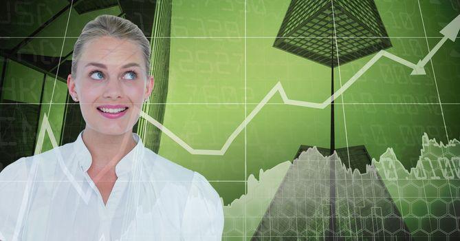 Smiling businesswoman against graphs
