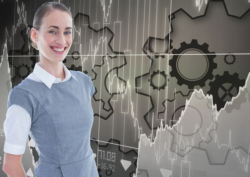 Smiling businesswoman against gears and graphs