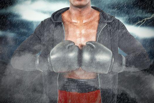 Composite image of boxer preparing for the tournament