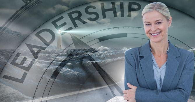 Smiling businesswoman against leadership clock