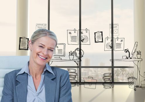 Smiling businesswoman against graphics