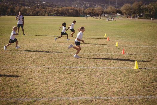 Schoolgirls running during competition