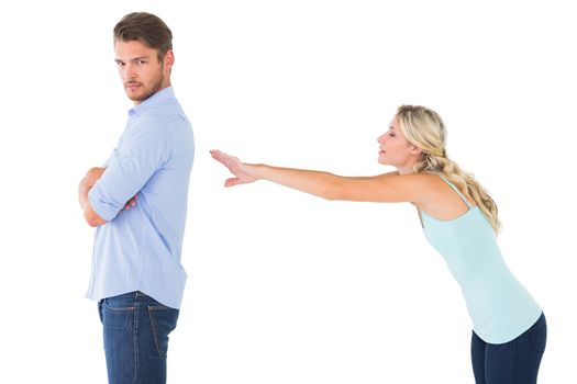 Desperate blonde reaching for boyfriend