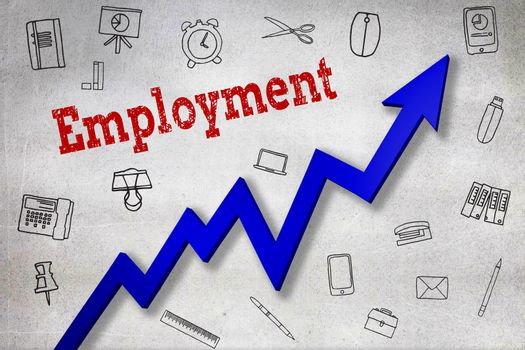 Composite image of close up of employment text