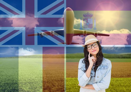 main language flags overlap with plane around young woman with hat thinking