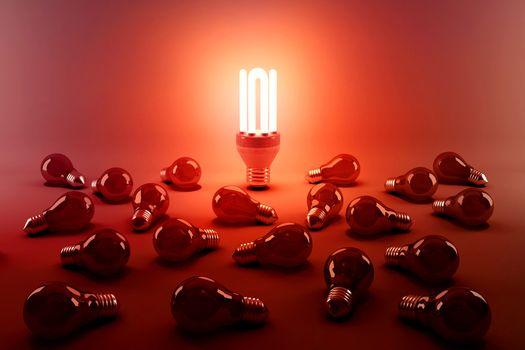 Digital composite image of illuminated energy efficient lightbulb by bulbs