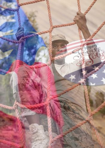 Digital composite of soldier overlap with usa flag and 4th july