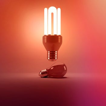Digital image of illuminated energy efficient lightbulb over bulb