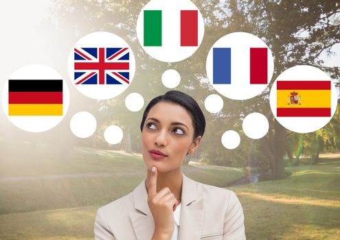woman thinking in main languages in the park