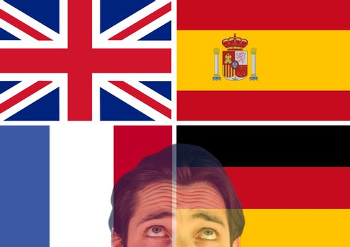 main language flags and foreground of man looking up, overlap