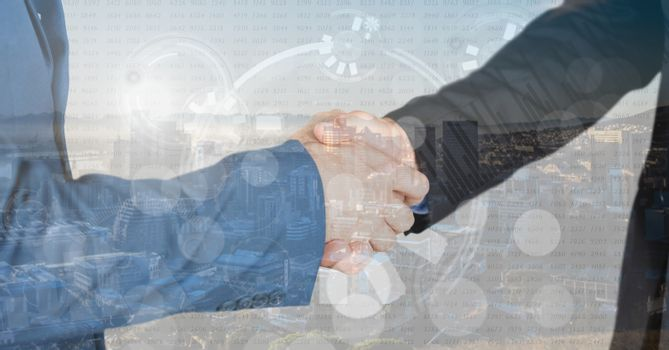 business hand shake overlap with city, graphs and numbers