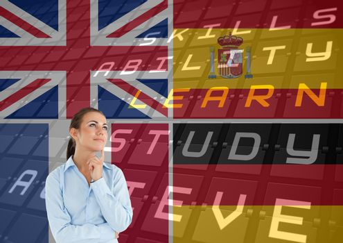main language flags overlap with airport deliveries around woman thinking