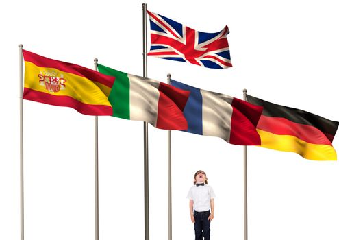 main language flags over boy looking up