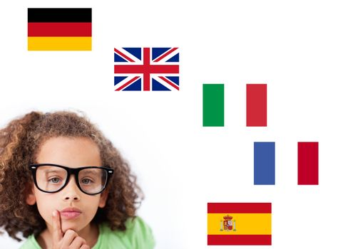 main language flags around girl