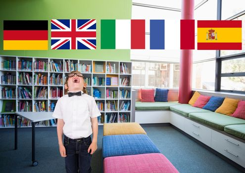 main language flags over boy in the school