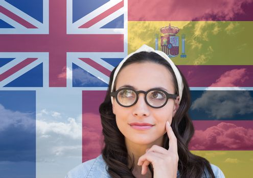 main language flags overlap with sky around thoughtful woman