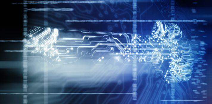technology against key shape against electric circuit