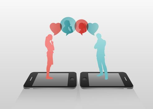 Dating through text message concept