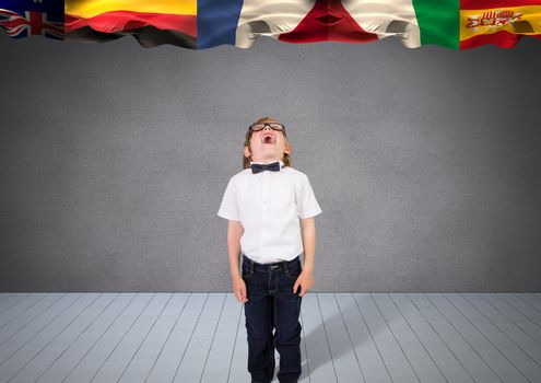 main language flags over a boy.