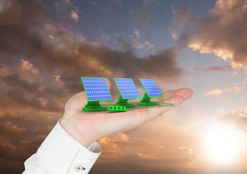 solar panel on hand