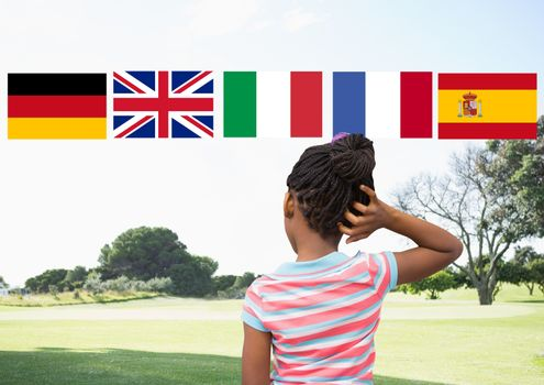 main language flags over girl in the park