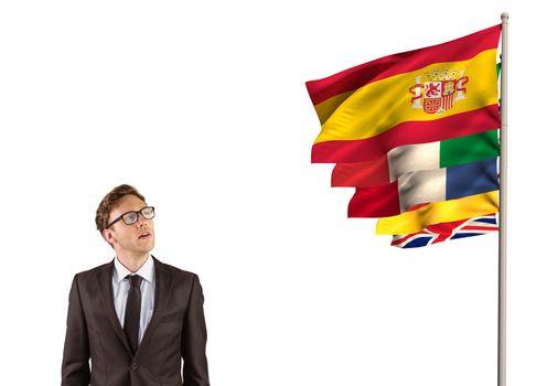 main language flags near businessman