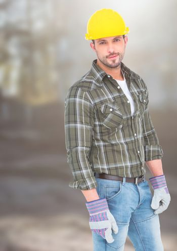 Construction Worker in front of forestry construction site