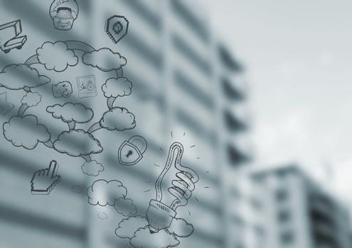 Blurry buildings with cloud doodles
