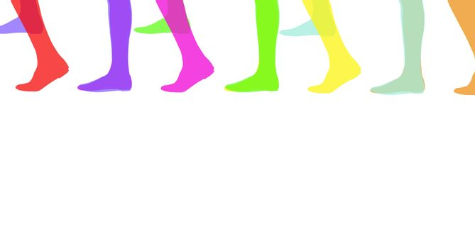 Color foots silhouettes