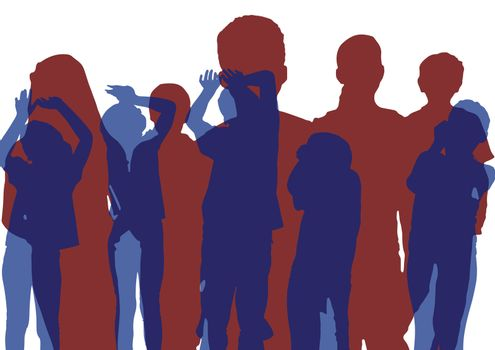 Group of kids silhouettes. Blue dancing and red posing. Overlap