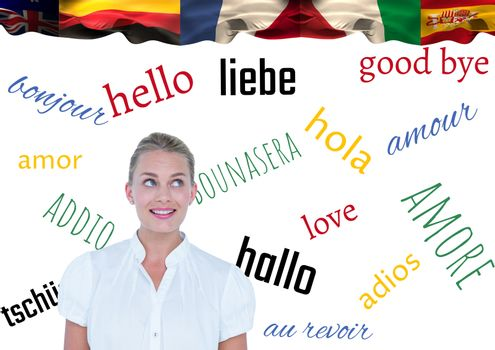 main language flags over young businesswoman