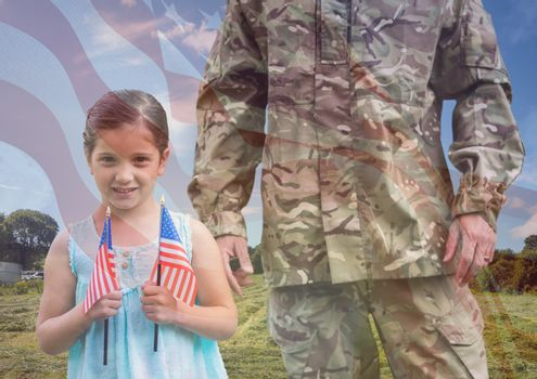 soldier and daughter overlap with usa flag