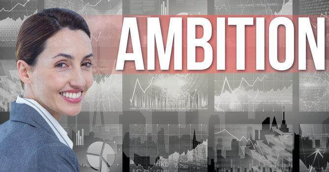 Digital composite image of businesswoman with ambition text and graphs