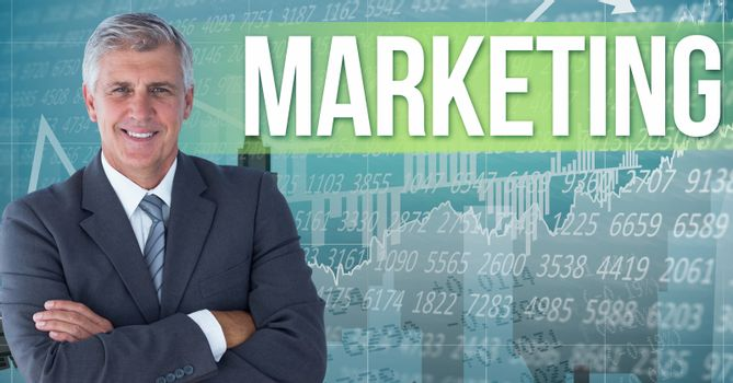 Digital composite image of businessman standing by marketing text against numerical background and g