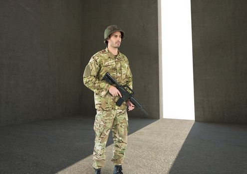 soldier with weapon in a concrete room with door