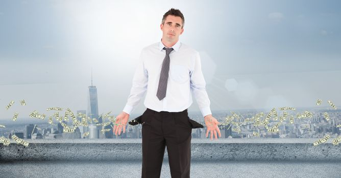 Poor businessman with flying money
