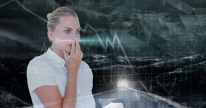 Shocked businesswoman seeing a board with curves