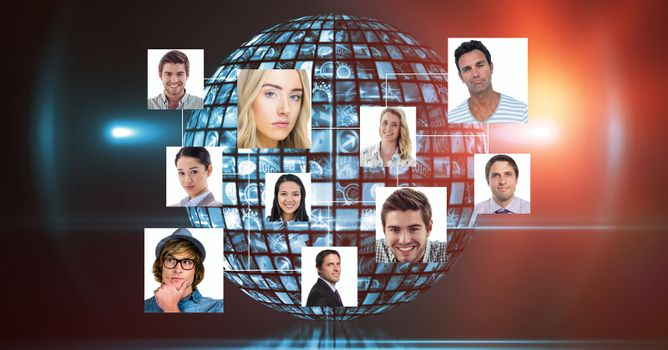 Composite image of organization chart with red background and disco ball