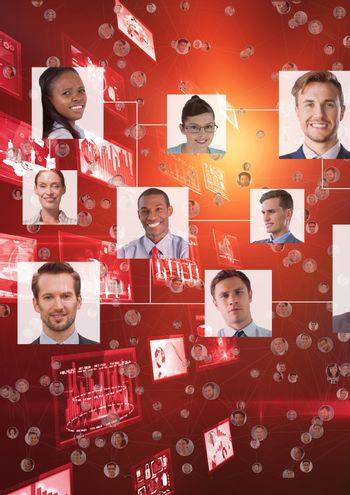 Composite image of organization chart with red background
