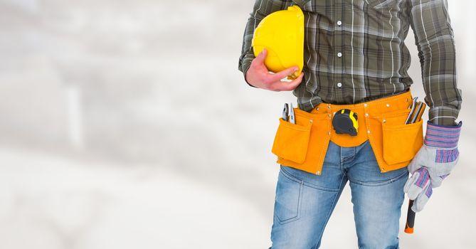 Carpenter on building site